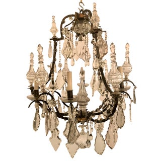 Antique French Crystal and Iron Chandelier, Circa 1860. For Sale