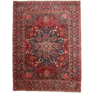 "Persian Yazd Rug - 10'4"" x 13'9"" For Sale"