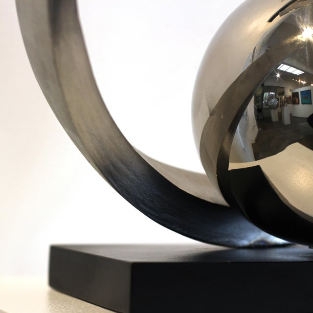 """Silver """"Quest for Enlightenment"""" Stainless Steel Sculpture For Sale - Image 8 of 9"""