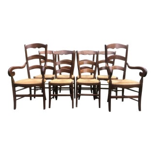 Vintage Pierre Duex French Wooden Country Chairs - Set of 8 For Sale