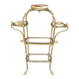 Victorian Ornate Brass and Onyx Etagere
