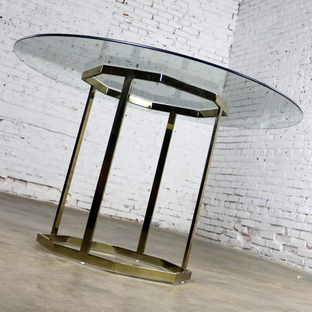 Glass Milo Baughman Style Octagon Brass Plated Metal Dining Table With Round Glass Top For Sale - Image 7 of 12
