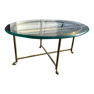 20th Century Hollywood Regency Brass & Glass Hoof Foot Oval Coffee Table For Sale