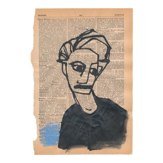 Contemporary Minimalist Figurative Pen and Ink Portrait Drawing on Vintage Paper For Sale