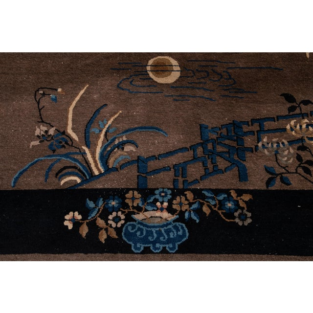 Textile Early 20th Century Antique Art Deco Chinese Piking Wool Rug For Sale - Image 7 of 13