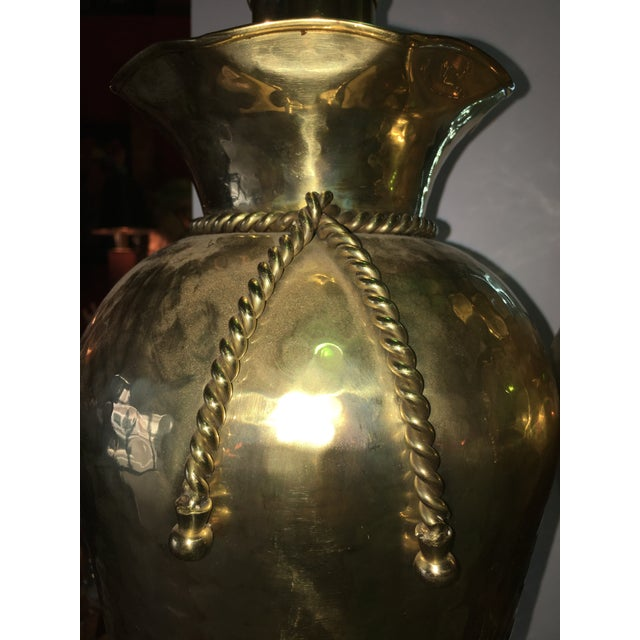 Sarreid Brass Hand Hammered Tassel Lamp - A Pair - Image 5 of 6