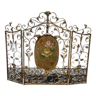 Vintage French Country Gold Scrolled Fireplace Screen W Center Floral Accent For Sale