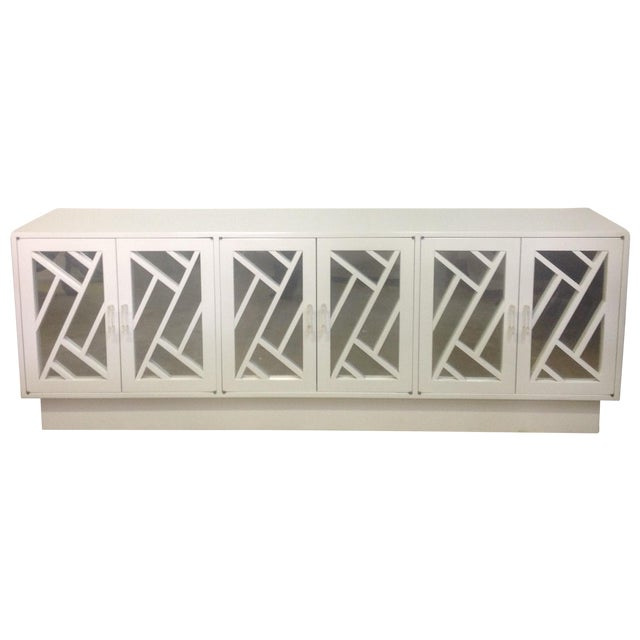 White Chippendale Style Mirrored Credenza - Image 1 of 11