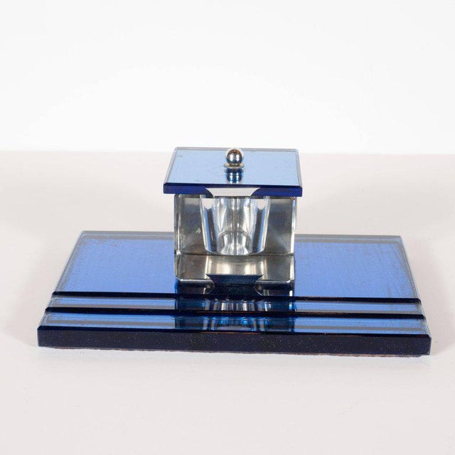 Three-Piece Art Deco Machine Age Cobalt Mirror and Chrome Desk Set by Victor For Sale - Image 10 of 12