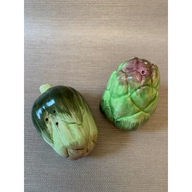 Mid-Century Modern Artichoke Salt and Pepper Shakers-Fitz Floyd For Sale - Image 3 of 6
