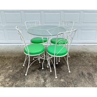 Vintage Mid-Century Modern Wrought Iron Bistro Dining Set - 5 Pieces Preview