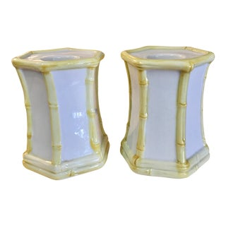 Bamboo Style Porcelain Candle Holders - A Pair For Sale