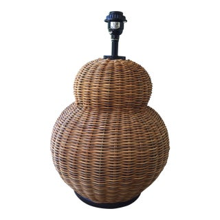 Boho Chic Round Wicker Table Lamp