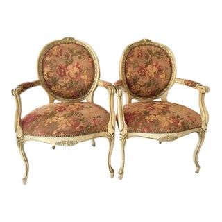 Vintage Floral Bergere Chairs - A Pair