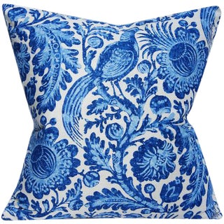 Blue & White Floral With Bird Tucker Chambray Indigo Linen Pillow Cover For Sale