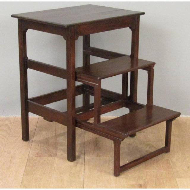 Mahogany Chippendale Rose Tarlow Dark Walnut Table With Pullout Library Steps For Sale - Image 7 of 7