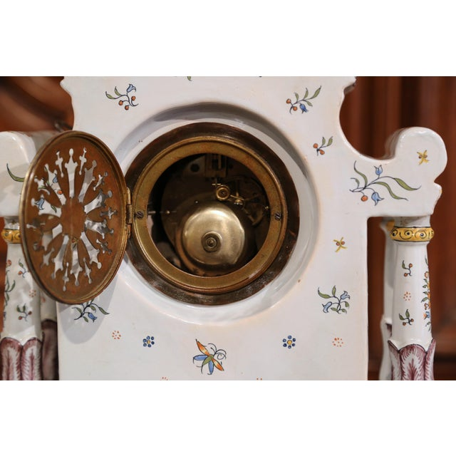19th Century French Hand-Painted Ceramic Mantel Clock From Rouen For Sale - Image 10 of 11