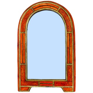 Hand-Engraved Mirror W/ Ornate Inlay For Sale
