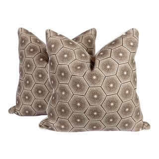 Medina Chocolate Linen Starburst Pillows - A Pair