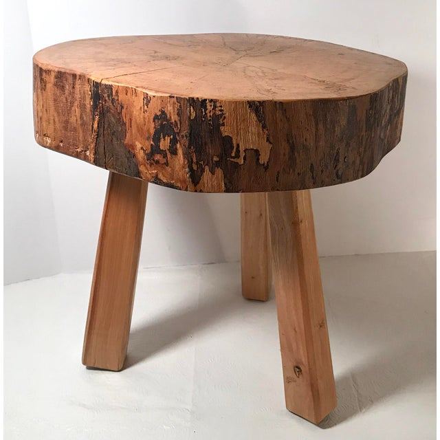 Brown Vintage Mid Century Wood Butcher Block Stool For Sale - Image 8 of 8