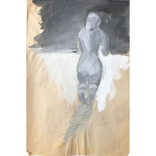 1960s Bay Area Figurative Movement Gouache & Charcoal Female Nude For Sale