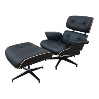 Modern Lounge Chair and Ottoman- Black Leather For Sale