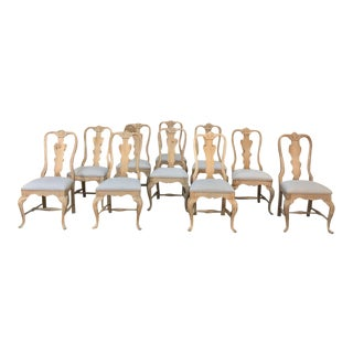 Set of 10 Antique Chippendale Stripped Dining Chairs For Sale