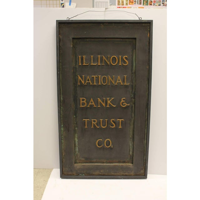 """Antique original interior brass sign """" Illinois National Bank & Trust Company"""". New wooden frame. Would look great in den..."""