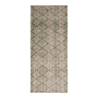 1950s Vintage Mid Century Blue-Gray and Green Geometric Wool Rug For Sale