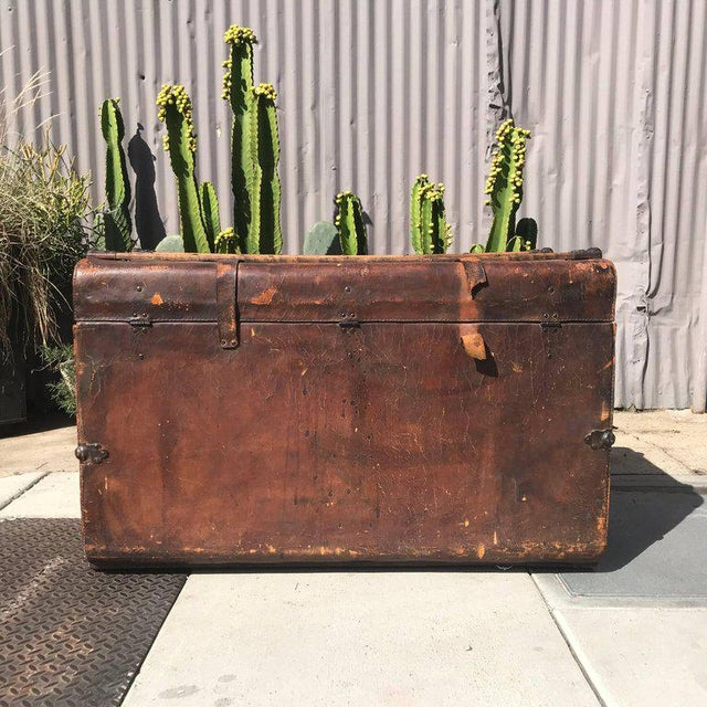 Antique Leather and Wood Trunk, Circa 1890 For Sale - Image 4 of 12
