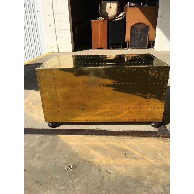 Sarreid LTD Brass Two-Drawer Coffee Table For Sale - Image 5 of 8