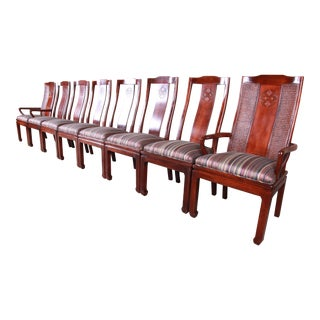 Bernhardt Mahogany and Cane Chinoiserie Dining Chairs - Set of 8 For Sale