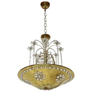 Maison Bagues Style Crystal Leaf Chandelier or Pendant Light