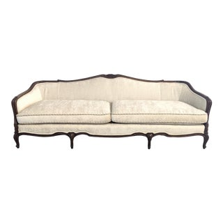 French Provincial Ivory Chenille & Dark Walnut Carved Frame Sofa For Sale
