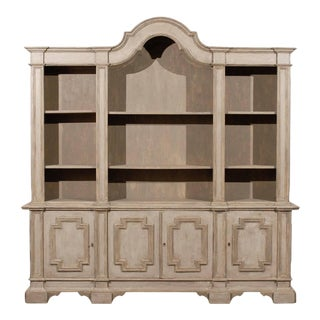 Mid-20th Century Italian Painted Wood Cabinet With Open Shelves For Sale