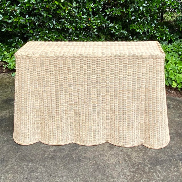 Mid-Century Modern Natural Rattan Trompe l'Oeil Console Table For Sale - Image 3 of 13