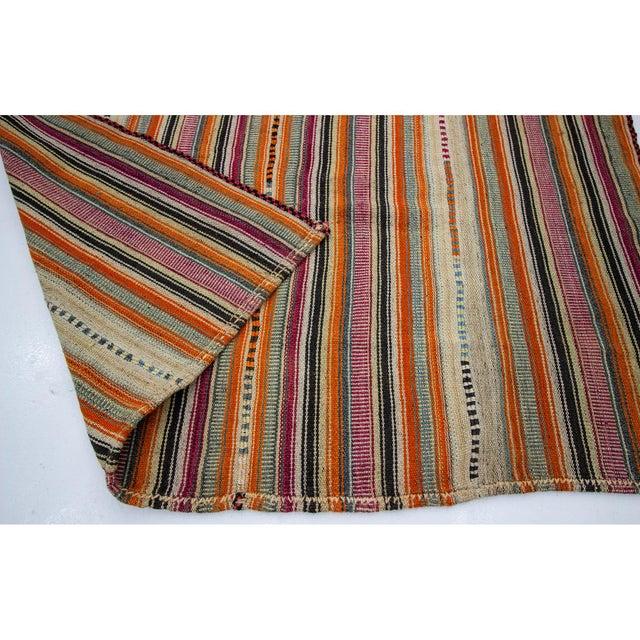 1960s 1960s Vintage Colorful Striped Turkish Kilim Rug- 5′11″ × 8′ For Sale - Image 5 of 7
