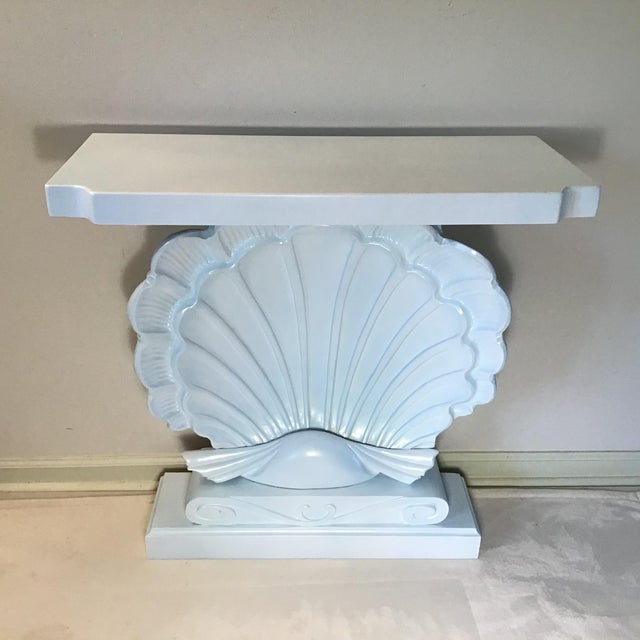Palm Beach Regency 1950s Edward Wormley Dunbar Style Carved Wood Shell Console Table White Blue Pearl For Sale - Image 10 of 13