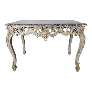 19th Century French Carved Table With Marble Top For Sale