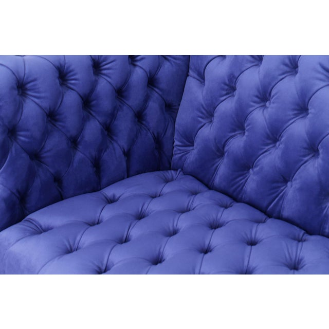2010s Pasargad Home Vicenza Collection Velvet Tufted Sofa, Blue For Sale - Image 5 of 9