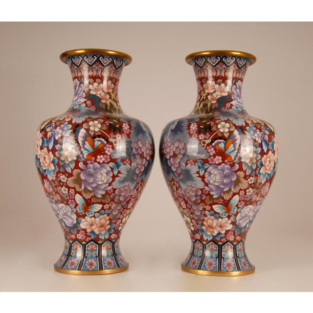Chinese 1930s Large Chinese Cloisonne Enamel Gilt Bronze Hand Crafted Baluster Vases - a Pair For Sale - Image 3 of 11