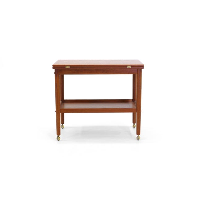 1950s Grete Jalk Teak Serving Cart or Bar Trolley, Expandable Top For Sale - Image 5 of 11