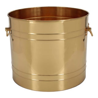 Large Scale Polished Brass Planter With Handles For Sale
