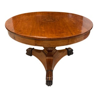 1900s French Neoclassical Mahogany Center Table with 6 Drawers For Sale