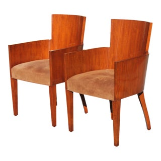 Art Deco Ralph Lauren Mahogany Armchairs - a Pair For Sale