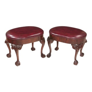 Early 20th Century Vintage Chippendale Style Mahogany Oval Foot Stools- A Pair For Sale