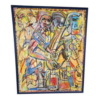 "3 1/2 Feet X 2 3/4 Feet - ""A Night in Birdland"" Painting by Sam Pierce Postmodernist Blue Note Club - Jazz"