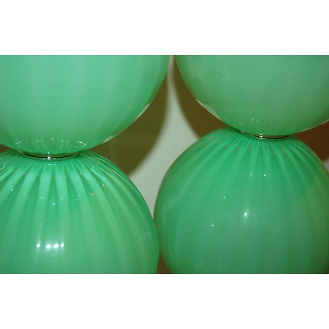 Contemporary Joe Cariati Hand Blown Glass Ball Table Lamps Green For Sale - Image 3 of 10