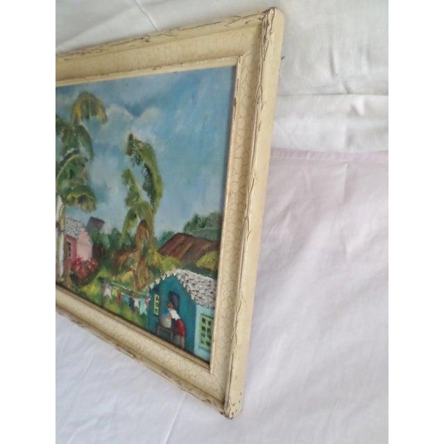 Mid-Century Modern Mid-Century Island Scene Oil Painting For Sale - Image 3 of 12