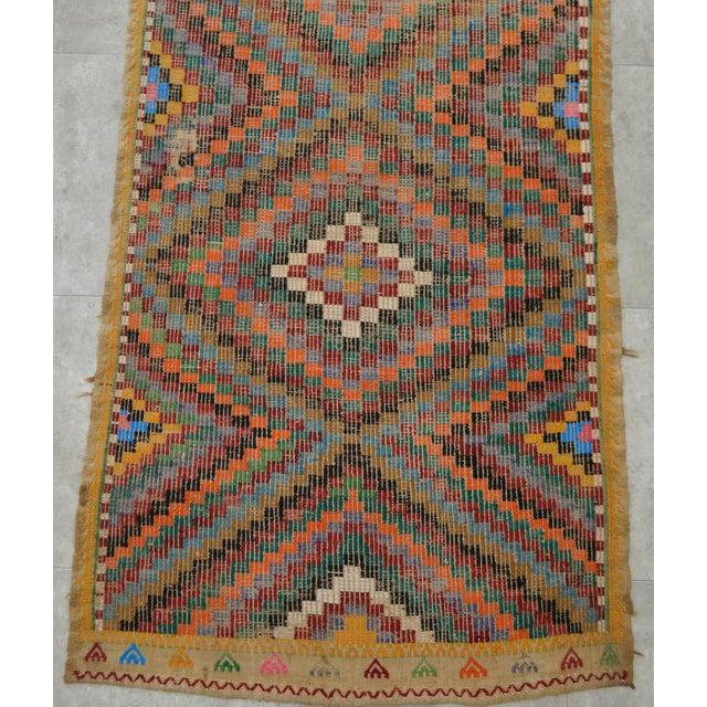 "Turkish Oushak Handmade Cotton Kilim Runner Rug - 3'2"" x 12'4"" - Image 8 of 10"